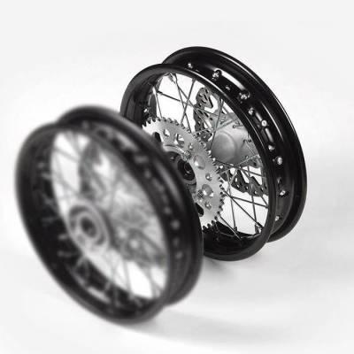 Cerchio ACCIAIO posteriore 1,40 x 10, con disco freno, mozzo di fusione, cerchio nero