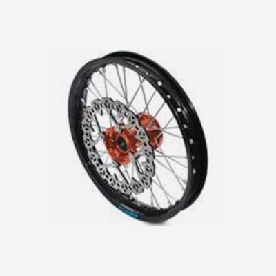 cerchio anteriore 1,4 x 14 in alluminio, mozzo CNC colore ARANCIONE, compreso di disco freno