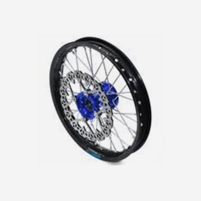 cerchio anteriore 1,4 x 14 in alluminio, mozzo CNC colore BLU, compreso di disco freno