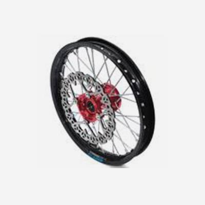 cerchio anteriore 1,4 x 14 in alluminio, mozzo CNC colore ROSSO, compreso di disco freno