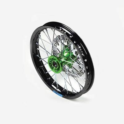cerchio anteriore 1,4 x 14 in alluminio, mozzo CNC colore VERDE, compreso di disco freno
