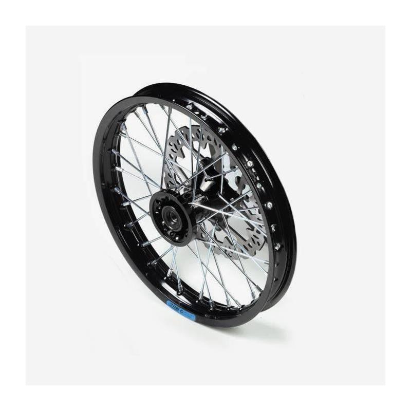 cerchio anteriore 12 in alluminio, mozzo CNC colore nero, compreso di disco freno