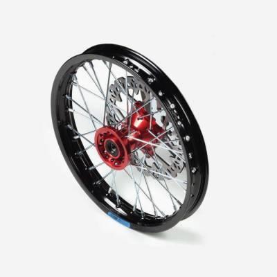 cerchio anteriore 12 in alluminio, mozzo CNC colore ROSSO, compreso di disco freno
