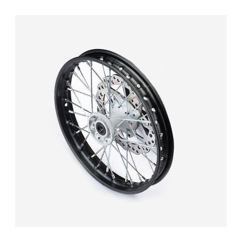 cerchio anteriore 12 in alluminio, mozzo CNC colore SILVER, compreso di disco freno