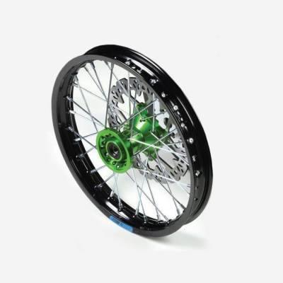 cerchio anteriore 12 in alluminio, mozzo CNC colore VERDE, compreso di disco freno