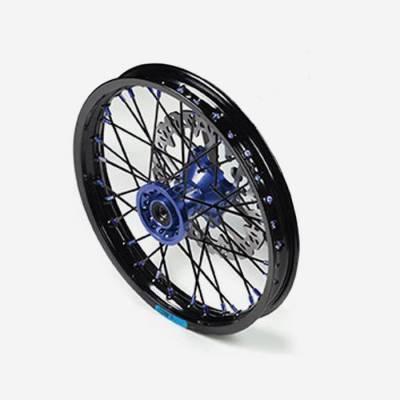 """Cerchio anteriore ALLUMINIO completo 1,40 14"""", con disco 220mm, mozzo CNC BLU, cerchio nero, raggi neri"""