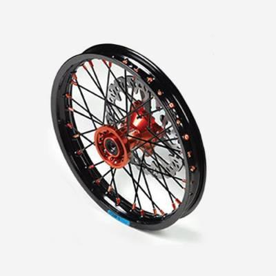 """Cerchio anteriore ALLUMINIO completo 1,40 14"""", con disco 220mm, mozzo CNC ARANCIONE, cerchio nero, raggi neri"""
