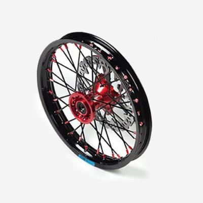 """Cerchio anteriore ALLUMINIO completo 1,40 14"""", con disco 220mm, mozzo CNC ROSSO, cerchio nero, raggi neri"""