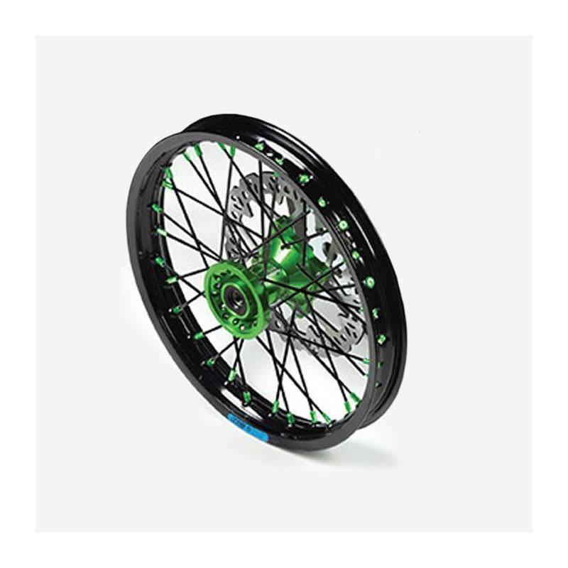 """Cerchio anteriore ALLUMINIO completo 1,40 14"""", con disco 220mm, mozzo CNC VERDE, cerchio nero, raggi neri"""