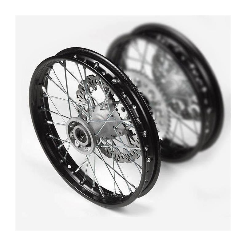 """cerchio anteriore in acciaio 1,4 x 12"""", colore nero, mozzo di fusione, disco freno 220mm incluso"""