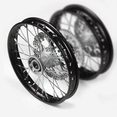 """cerchio anteriore in acciaio 14"""", colore nero, mozzo di fusione, disco freno 220mm incluso"""