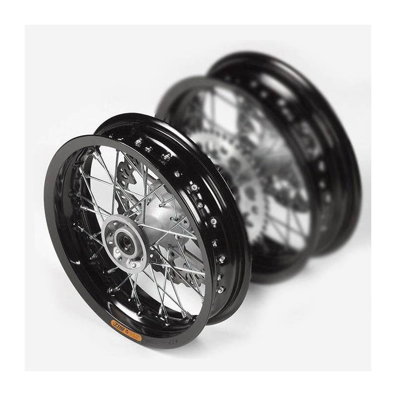 """cerchio anteriore inalluminio 2,50 x 12"""", colore nero, mozzo di fusione, disco freno 220mm incluso"""