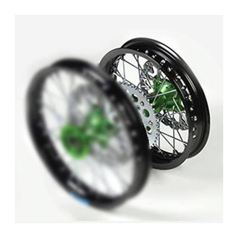 """Cerchio posteriore ALLUMINIO completo 1,85 12"""", con disco 200mm, mozzo CNC VERDE, cerchio nero, raggi neri"""