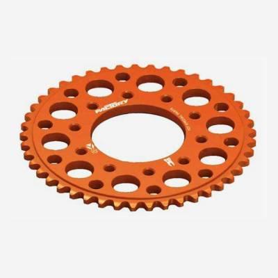 Corona in alluminio CNC 43 denti 420 anodizzata ARANCIONE