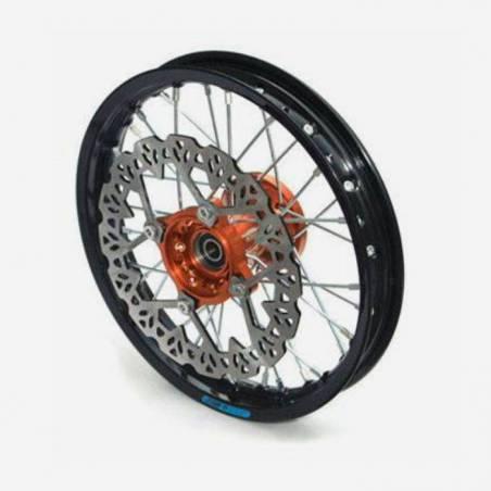 cerchio anteriore 12 in alluminio, mozzo CNC colore ARANCIONE, compreso di disco freno
