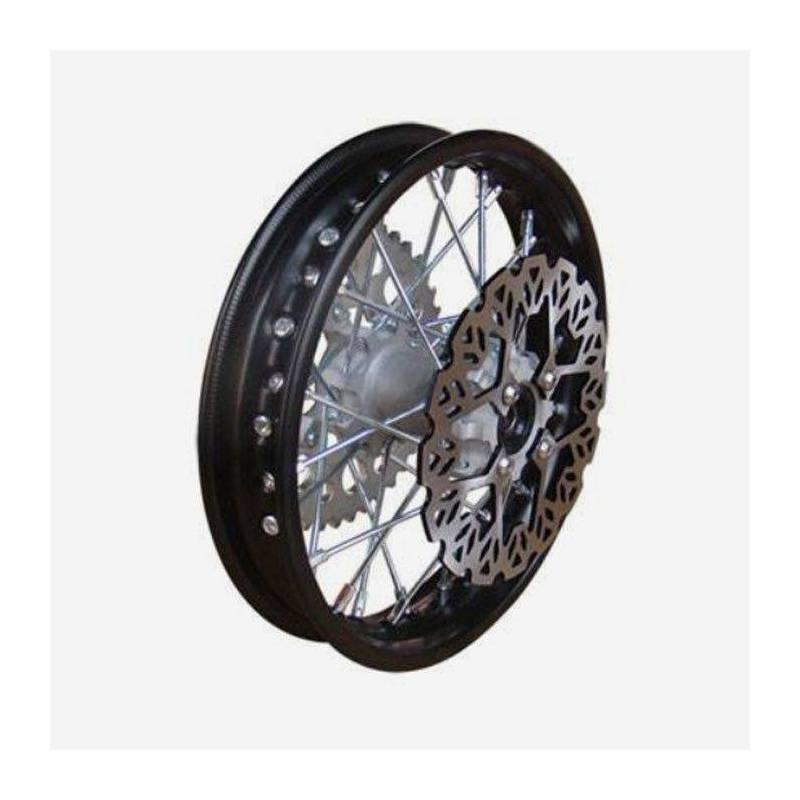 """cerchio anteriore in acciaio 1,4 x 10"""", colore nero, mozzo di fusione, disco freno 220mm incluso"""
