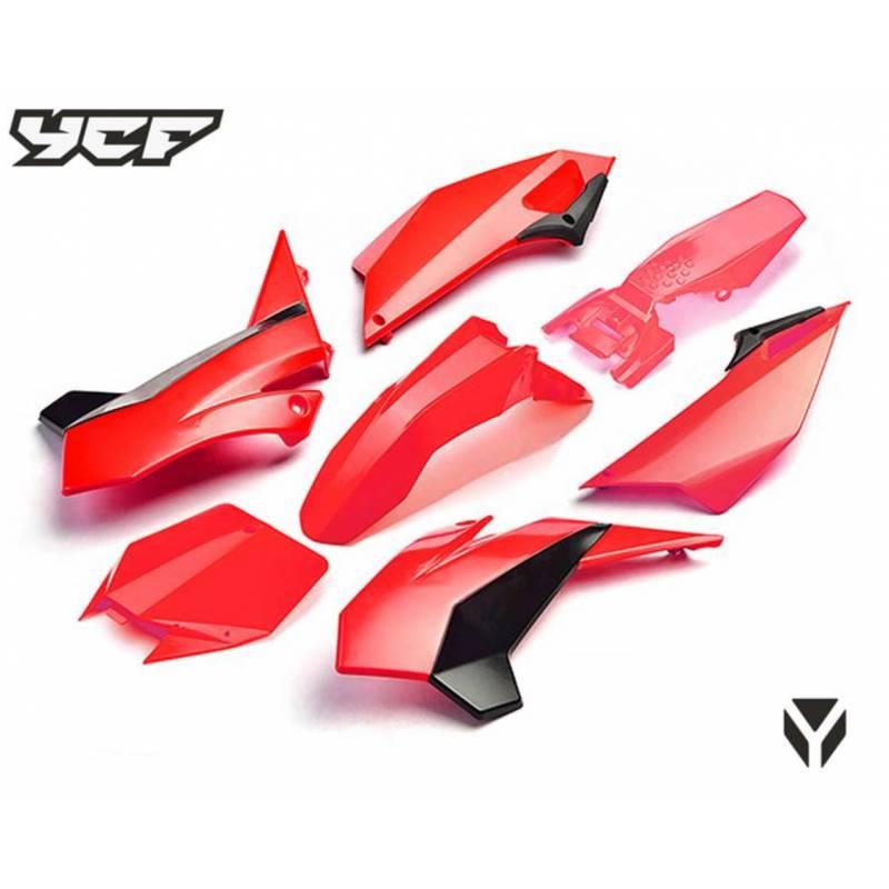 Kit plastiche complete YCF 2017 ROSSO (con convogliatori tipo lungo per modelli dal 2017)